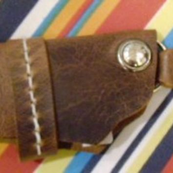 brown leather key ring holder gun holster  style for belt by G2P