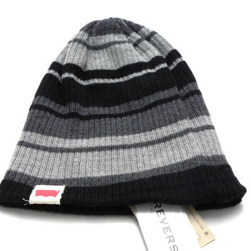 New Levis Jeans Reversible Black/Gray Stripes Beanie Men's Women's