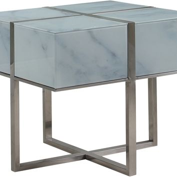Logan End Table Glass Marble Look