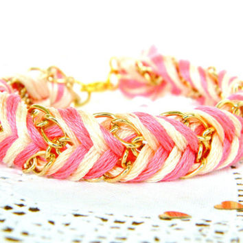 Neon Pink, Peachy Keen, & Neutral - Chevron Braided Modern Friendship Bracelet - Gold Chain