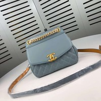 New Office 19*16 cm CHANE Double C Women Leather silver and gold on Chain cross body bag Chane vintage Chanl jumbo handbags crossbag shoulder bags tote
