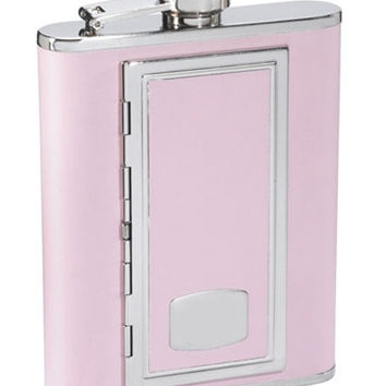 Visol SP Pink Leather 6 oz Flask With Built In Cigarette Case