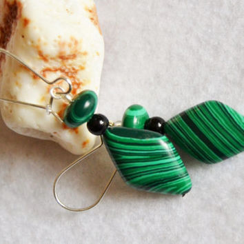 Malachite earrings, onyx jewelry, dangle earrings, boho style jewelry, sterling earrings, healing jewelry, green earrings, gift for women