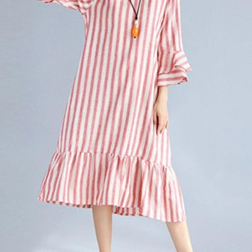 Vintage Women Stripe 3/4 Sleeve Spring Long Maxi Dresses