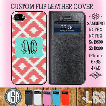 Customize Monogram Flip Leather Cover @ IPhone 5 Case 5S IPhone 4 Case 4S Samsung Galaxy S4 Wallet Case S3 Samsung Note 3 Galaxy Note 2 L69