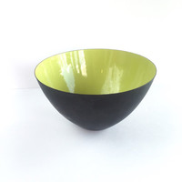 Mid Century Krenit Bowl in Green and Matte Black Designed by Herbert Krenchel
