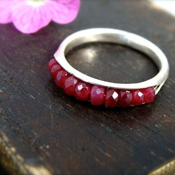 ruby gemstone, skinny stack ring