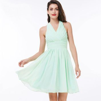 Halter cocktail dress green knee length draped a line chiffon dress ladies  black short cocktail dresses
