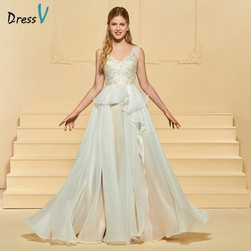 Dressv Long Wedding Dress V Neck Sleeveless A Line Organza Satin Appliques Ruffles Zipper Up Custom Church Garden Wedding Dress