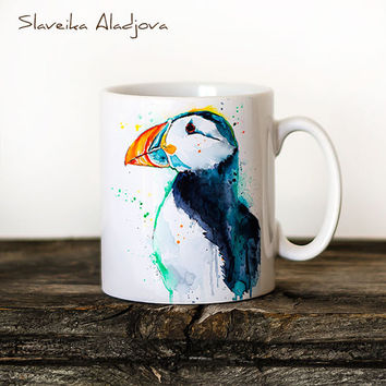 Puffin Mug Watercolor Ceramic Mug Unique Gift Coffee Mug Animal Mug Tea Cup Art Illustration Cool Kitchen Art Printed mug bird Puffin