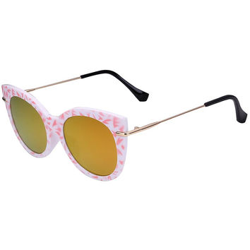 Pink Printed Frame Cat Eye Mirrored Sunglasses