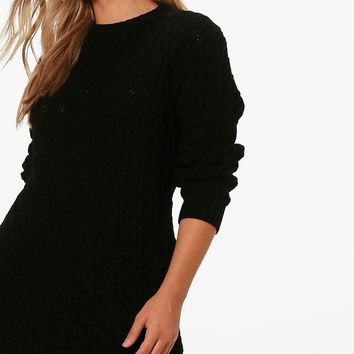 Plus Cable Knitted Jumper Dress | Boohoo