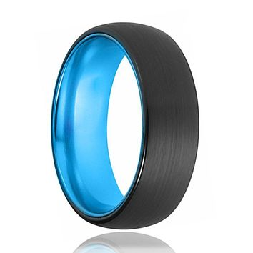 Tungsten Blue Ring - Mens Wedding Band - Black Tungsten Brushed - Aqua Blue Tungsten - Dome Ring - Tungsten Wedding Ring - Man Tungsten Ring