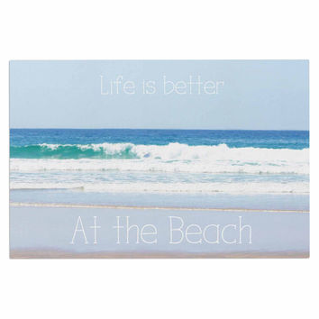 "Sylvia Coomes ""Life Is Better At The Beach"" Tan Blue Decorative Door Mat"