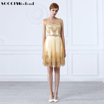 SOCCI New Tulle Lace Gold Cocktail Dress  short Mother of the Bride Dresses Formal Prom gowns wedding party Vestidos de coctel