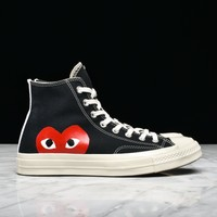 CDG PLAY X CONVERSE CHUCK TAYLOR ALL STAR '70 HI - BLACK - Best Deal Online