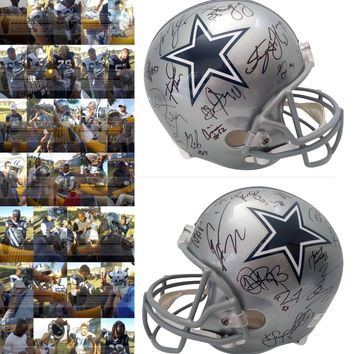 2019 Dallas Cowboys Team Autographed Riddell Full Size Football Helmet, Proof Photos