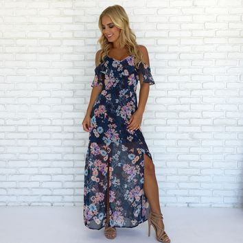 One With Nature Maxi Dress in Blue