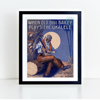 "Vintage Wall Art, ""When Old Bill Bailey Plays The Ukalele"" Movie Poster, African American, Black Art, Vintage Print, Instant Download"