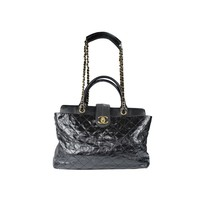 CHANEL Black Quilted Distressed Leather Large Bindi Stingray & Chain Tote Bag