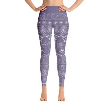 Elephant Mandala in Purple Yoga Leggings