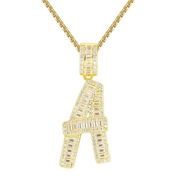 Custom Silver Baguette Iced Out A-Z 14k Gold Finish Initials Free Chain