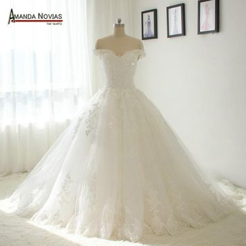 Off The Shoulder Sleeves Sexy Princess Ball Gown Puffy Bridal Wedding Dresses