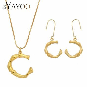 Fashion Initial Letter Women Earring And Necklace Set African Gold Color Jewelry Sets For Wedding Indian Bridal Jewelry Sets