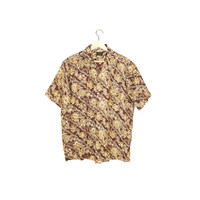 vintage floral batik short sleeve shirt - allover print - wild pattern - mens medium