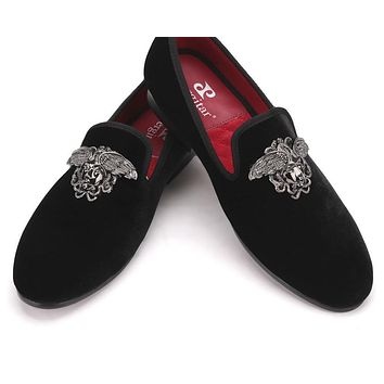 Fashion men with Silver Face buckle handmade High-grade party and wedding men velvet shoes men dress shoe men's flats