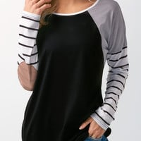 Long Sleeve Striped Elbow Patch T Shirt
