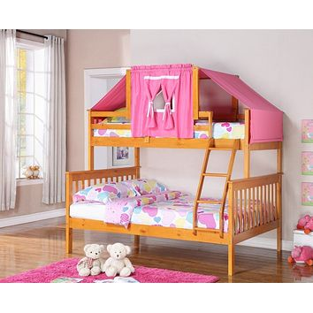 Riley Twin over Full Honey Bunk Bed with Pink Tent