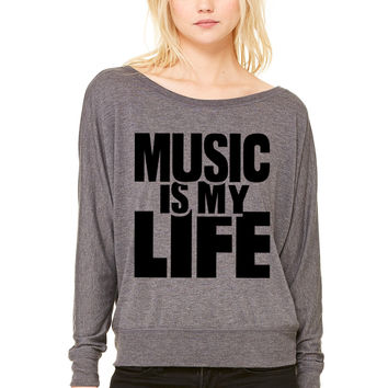 Music is my life WOMEN'S FLOWY LONG SLEEVE OFF SHOULDER TEE