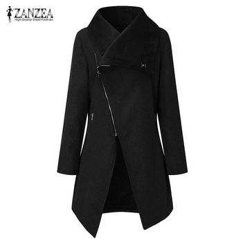 Trendy ZANZEA Fashion Women Solid Lapel Neck Long Sleeve Zipper Moto Biker Coat Casual Irregualr Hem Long Outwear Wool Blend Jacket New AT_94_13