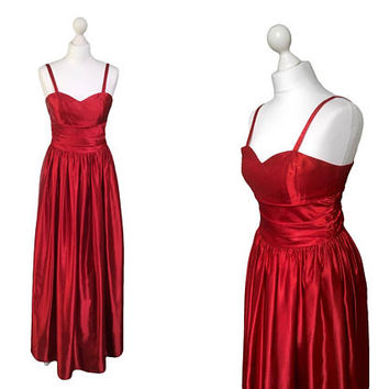 Red Satin Dress By Trina Lewis And Marjon Couture | Vintage Evening Dress | Red Gown | Festive Red Christmas / New Year's Eve Party Dress