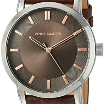 Vince Camuto Men's VC/1079DGSV The Sullivan Silver-Tone and Brown Leather Strap Watch
