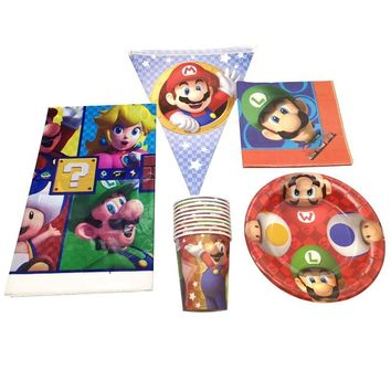 Super Mario party nes switch 51pcs/lot  Theme Decoration Tablecloth Birthday Events Party Flags Napkins Banner Baby Shower Kids Favors Cups Plates AT_80_8