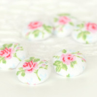 Fabric Buttons - Romantic Shabby Chic Roses - 6 Small Pink Flowers with Green Leaves on White - Floral Fabric Covered Buttons