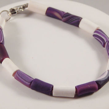 Single Strand tube imitation wampum bracelet, high quality clay beads, Native American made everyday Regalia, pow wow fashion - nautical