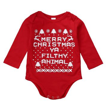 """Merry Christmas Ya Filthy Animal"" Sweater Onesuit"