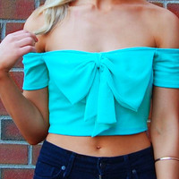 Mint Off the Shoulder Crop Top with Chiffon Bow Front Detail