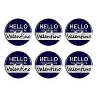 Valentino Hello My Name Is Plastic Resin Button Set of 6