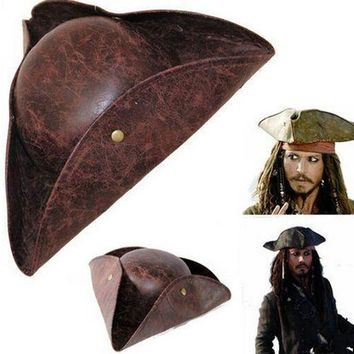 Fuax Leather mens pirate hat caribbean pirate hat halloween pirate hat costumes accessories halloween cap