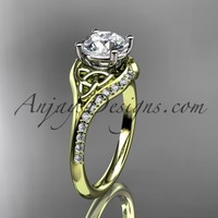 """14kt yellow gold diamond celtic trinity knot wedding ring, engagement ring with a """"Forever Brilliant"""" Moissanite center stone CT7125"""