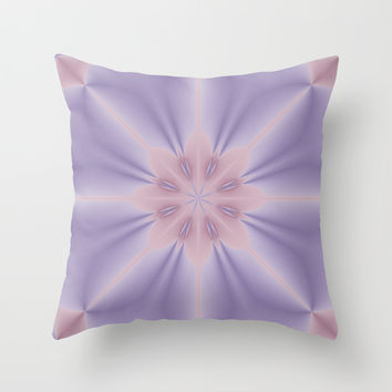 Pink and Lilac 3D Flower Throw Pillow by Lena Photo Art