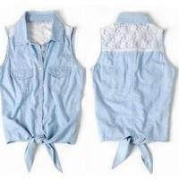 Lace Sleeveless Shirts Vest