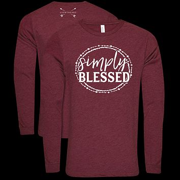 Southern Couture Lightheart Simply Blessed Triblend Front Print Long Sleeve T-Shirt