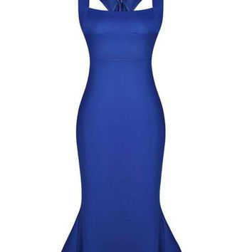 Blue Ruffled Bodycon Knee Length Dress