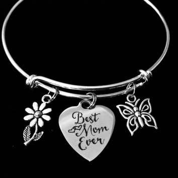 Best Mom Ever Expandable Charm Bracelet Mother Jewelry Butterfly Daisy One Size Fits All Gift Adjustable Bangle