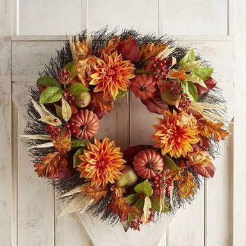 "Faux Pumpkin & Dahlia Oversized 26"" Wreath"